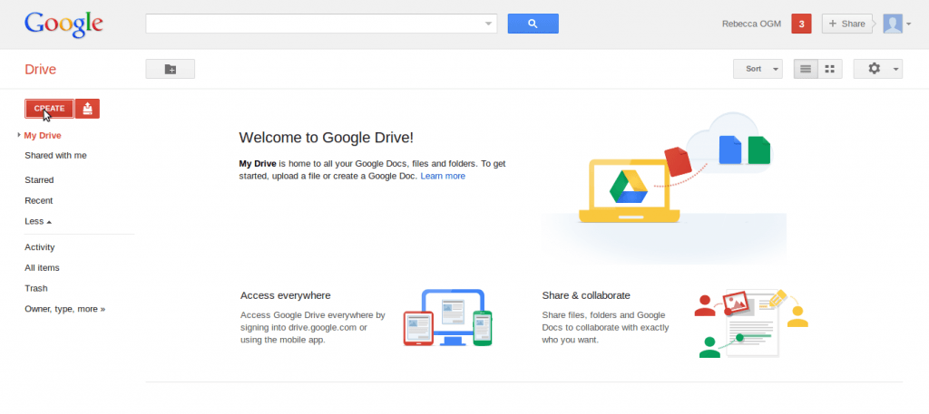 google drive home page 1024x457 How to share docs online, the easiest instructions ever!