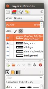 GIMP showing floating selection