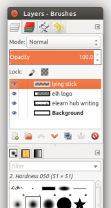 GIMP showing layers
