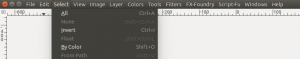 GIMP showing select none1