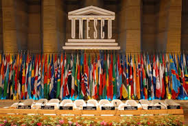 UNESCO with flags